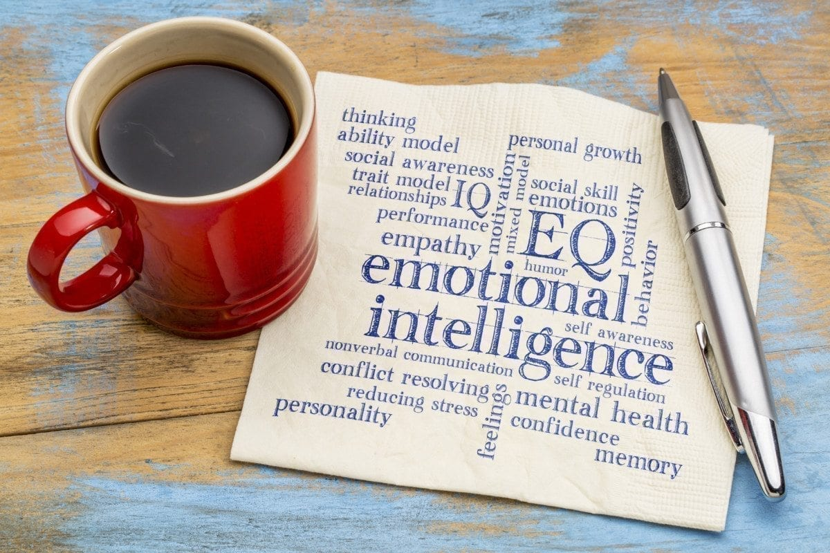 emotional intelligence (EQ) word cloud on a napkin with a cup of